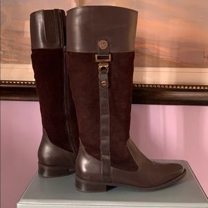 Anne Klein tall suede and leather boots